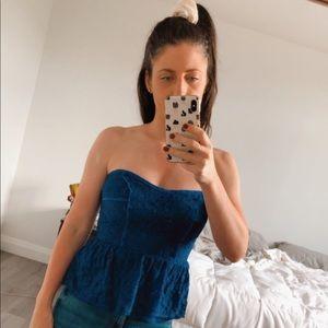 Cute Blue  Dynamite strapless Lace Peplum Top